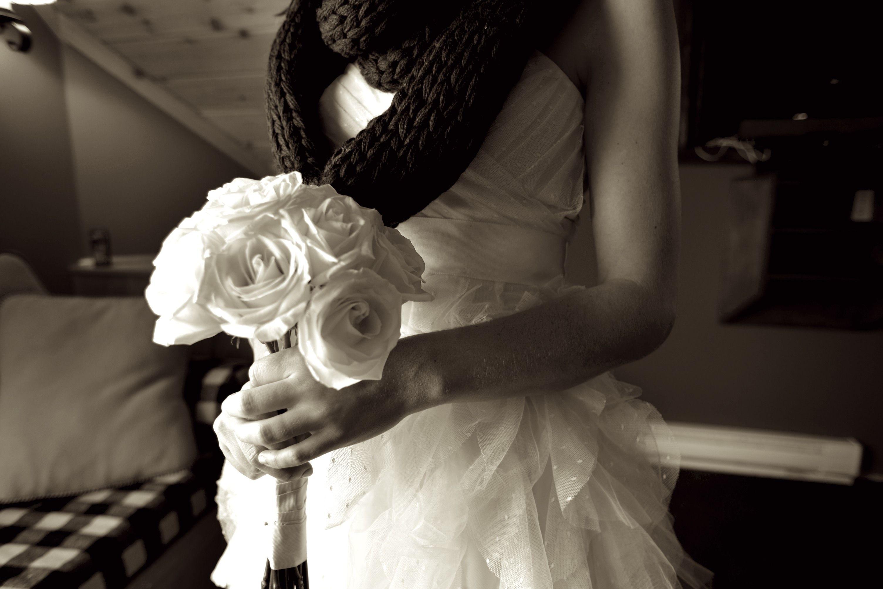 Winter wedding, knit accessory. ABarrettphotography
