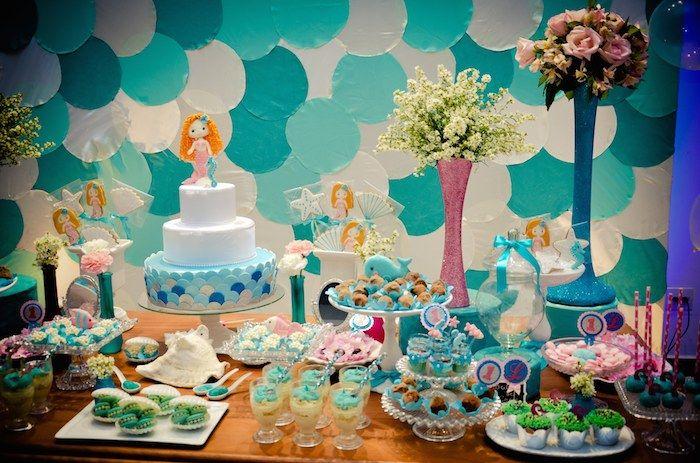 Mermaid themed 1st birthday party via Kara's Party Ideas KarasPartyIdeas.com #mermaidparty #underthesea #mermaids #karaspartyideas Cake, pri...