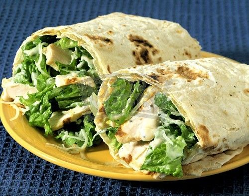Chicken Cesar Salad Wrap. Pin does not go to recipe, but more as a remainder for when thinking up more exciting lunch ideas.