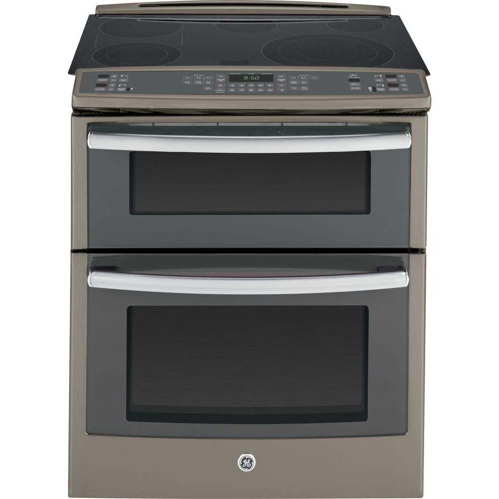 Ge Profile 6 6 Cu Ft Slide In Double Oven Electric Range With Convection Lower Oven In Stainless Steel Ps950sfss The Home Depot In 2020 Electric Double Oven Double Oven Slate Appliances