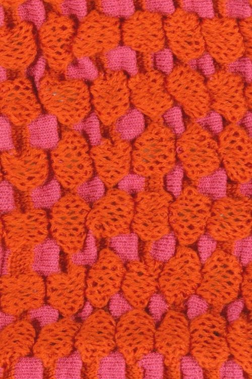 Stitch detail from Julia Ramsey Pop Art Minis collection. Cotton and elastomeric yarn.