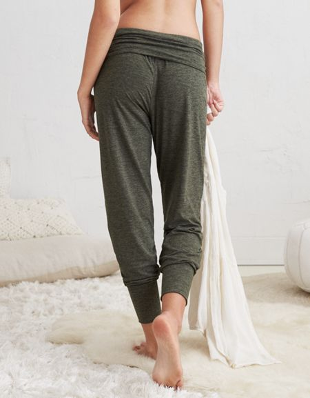 super soft jogger pants with foldover waistband