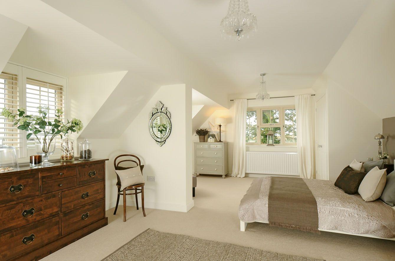 Attic Bedroom in Farrow & Ball Wimbourne White. | home | Pinterest ...