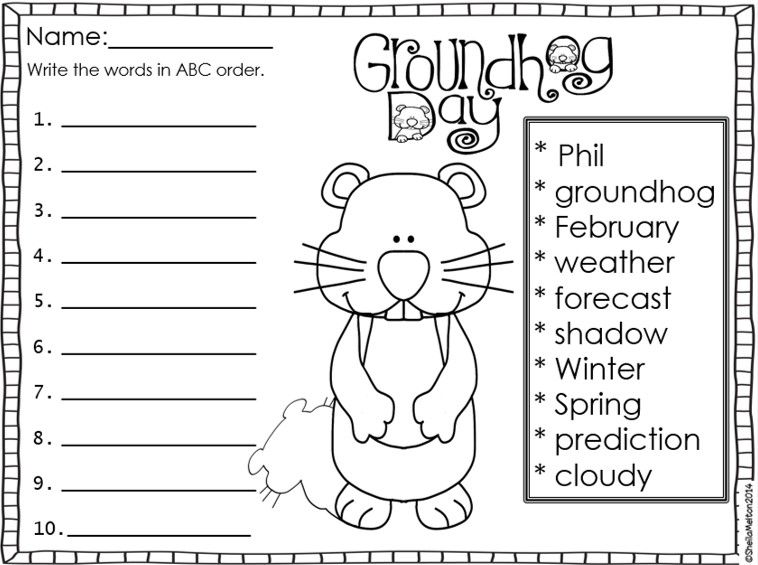 Selective image regarding free printable groundhog day worksheets