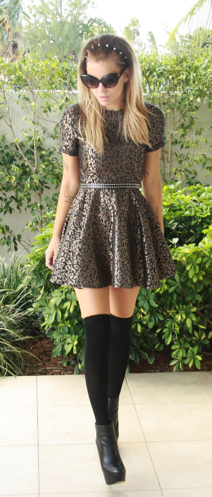 Metallic leopard dress knee high socks medias pinterest