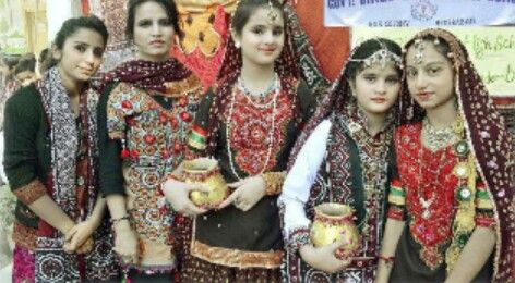 School girls play a role of sindhi women....