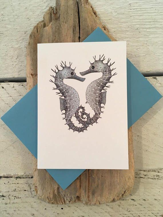 Seahorse Card, Seahorse birthday card, Anniversary card, Greeting - print anniversary card
