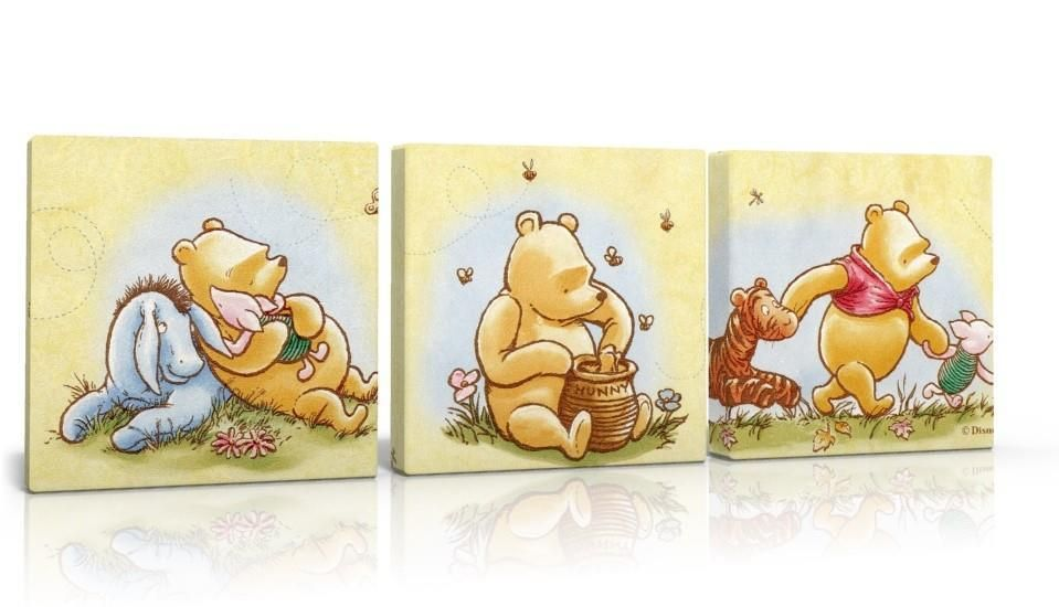 3 X DEEP EDGE CANVAS PICTURES WALL ART CLASSIC WINNIE THE POOH free ...