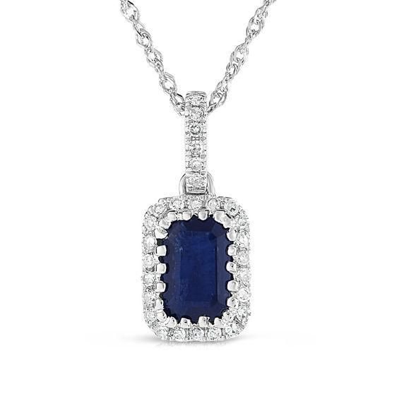 Zales Pear-Shaped Lab-Created Blue and White Sapphire and Diamond Accent Frame Pendant in 10K White Gold 0utxFk