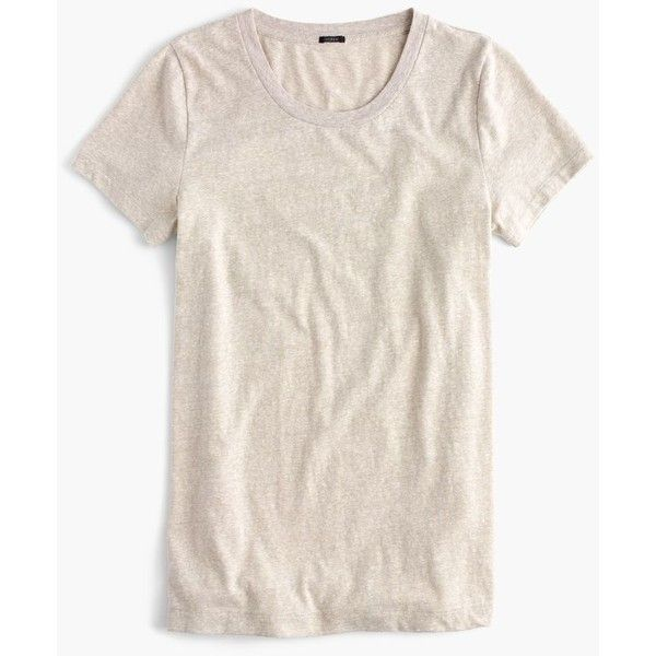 J.Crew T-Shirt ($35) via Polyvore featuring tops, t-shirts, tees, loose fit tops, cotton tee, loose tops, cotton t shirt and j crew tee