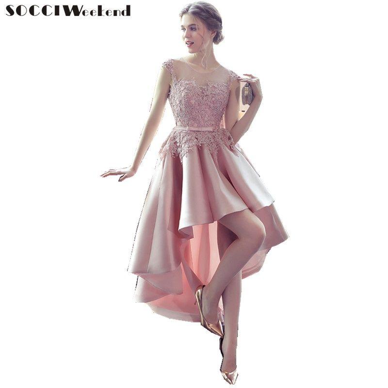 4393c8d58ce SOCCI Weekend Elegant Prom Dress Pink Lace Satin Women Bridal Gowns High  Low Formal Wedding Party Dresses Robe de