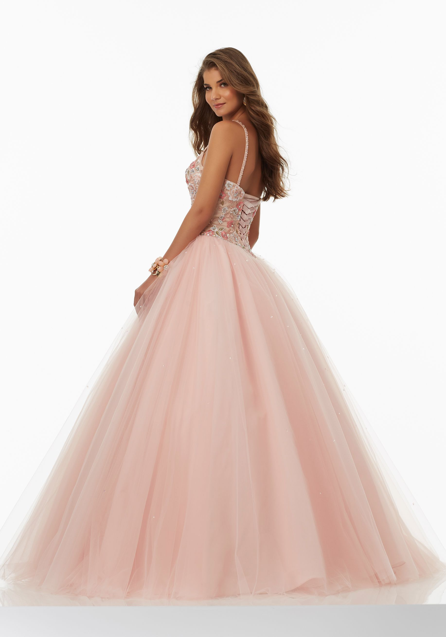 Embroidered Tulle Prom Ballgown with Deep-V Neckline and Basque ...