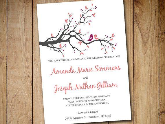 Love Bird Wedding Invitation Template