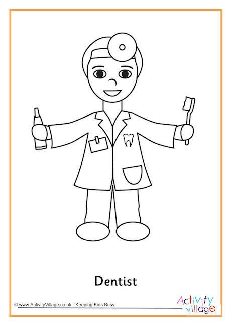 dentist coloring pages - dentist colouring page occupations craft pinterest