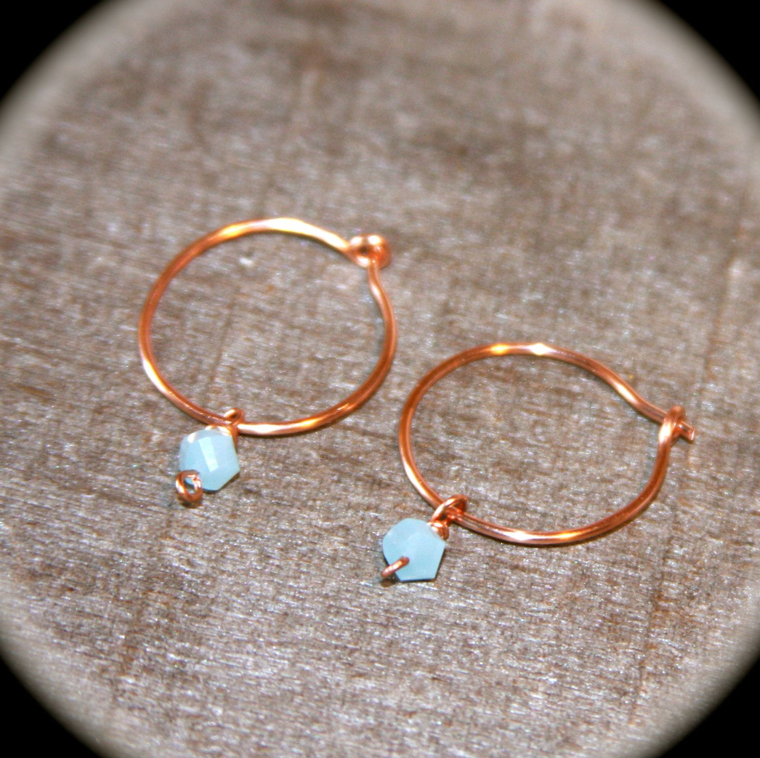 Hoop Earrings, Pick Your Metal Type, Cartilage Earrings, Pale Blue Beaded  Hoops, Delicate Hoop Earrings