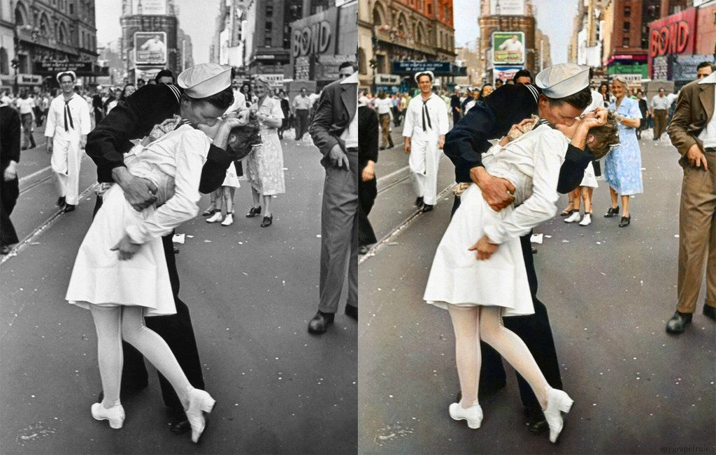 """The Kiss"" by Alfred Eisenstaedt into colour!"