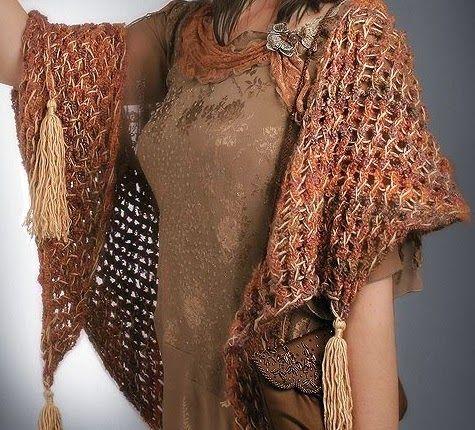 El Knifty Knitter: Knifty mantón Tassel Knitter | Chales,ponchos y ...