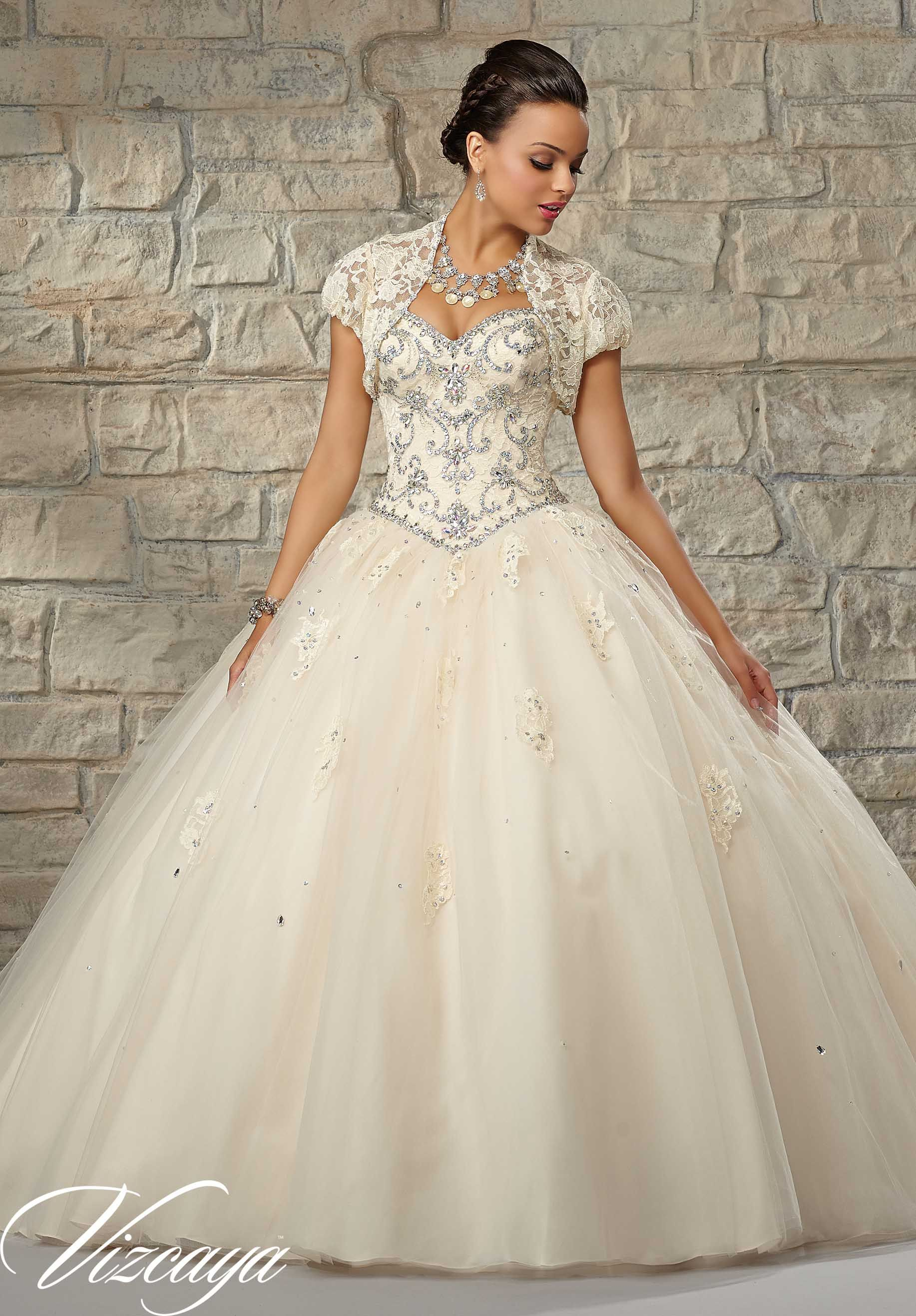 Quinceanera Gowns Style 89034: Beaded Lace Bodice with a Tulle Ball ...