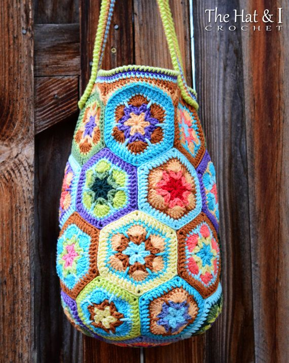 CROCHET PATTERN - Boho Bag - an african flower crochet bag pattern ...