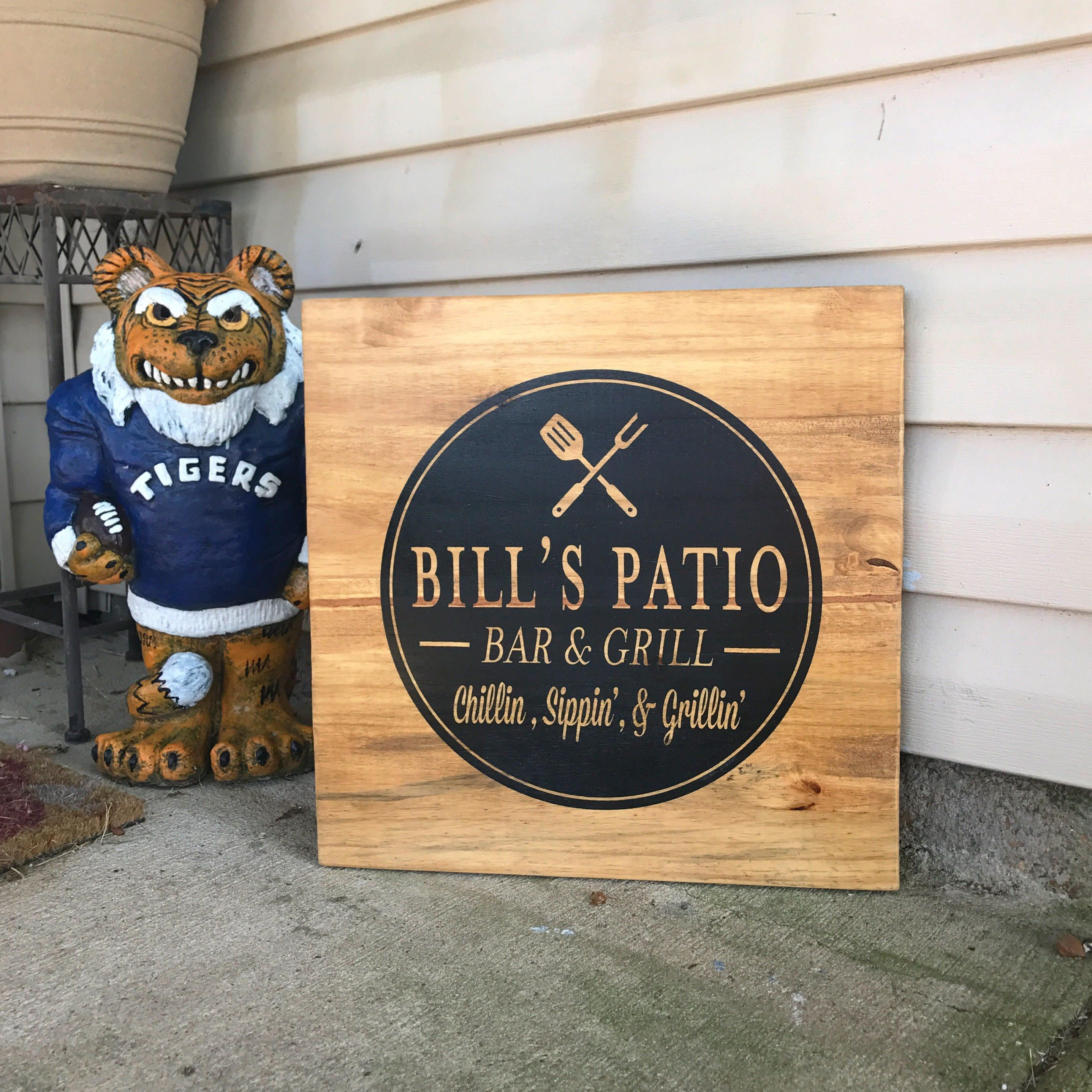 Custom patio sign bar and grill sign fathers day gift