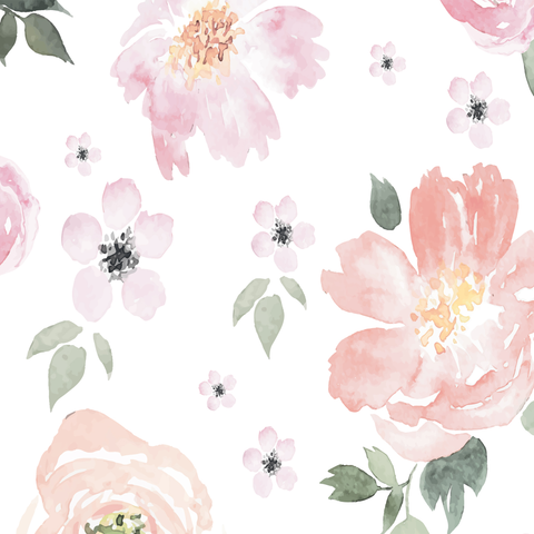 Watercolor Peony Wallpaper | baby girl room | Wall ...