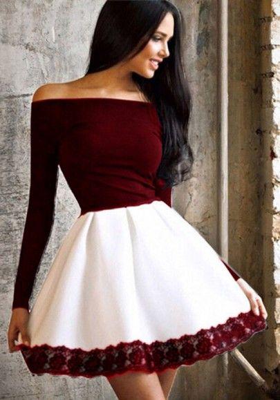 13f8a250a Vino remiendo rojo encaje fuera del hombro Prom Evening Party Tutu Moda Mini  vestido