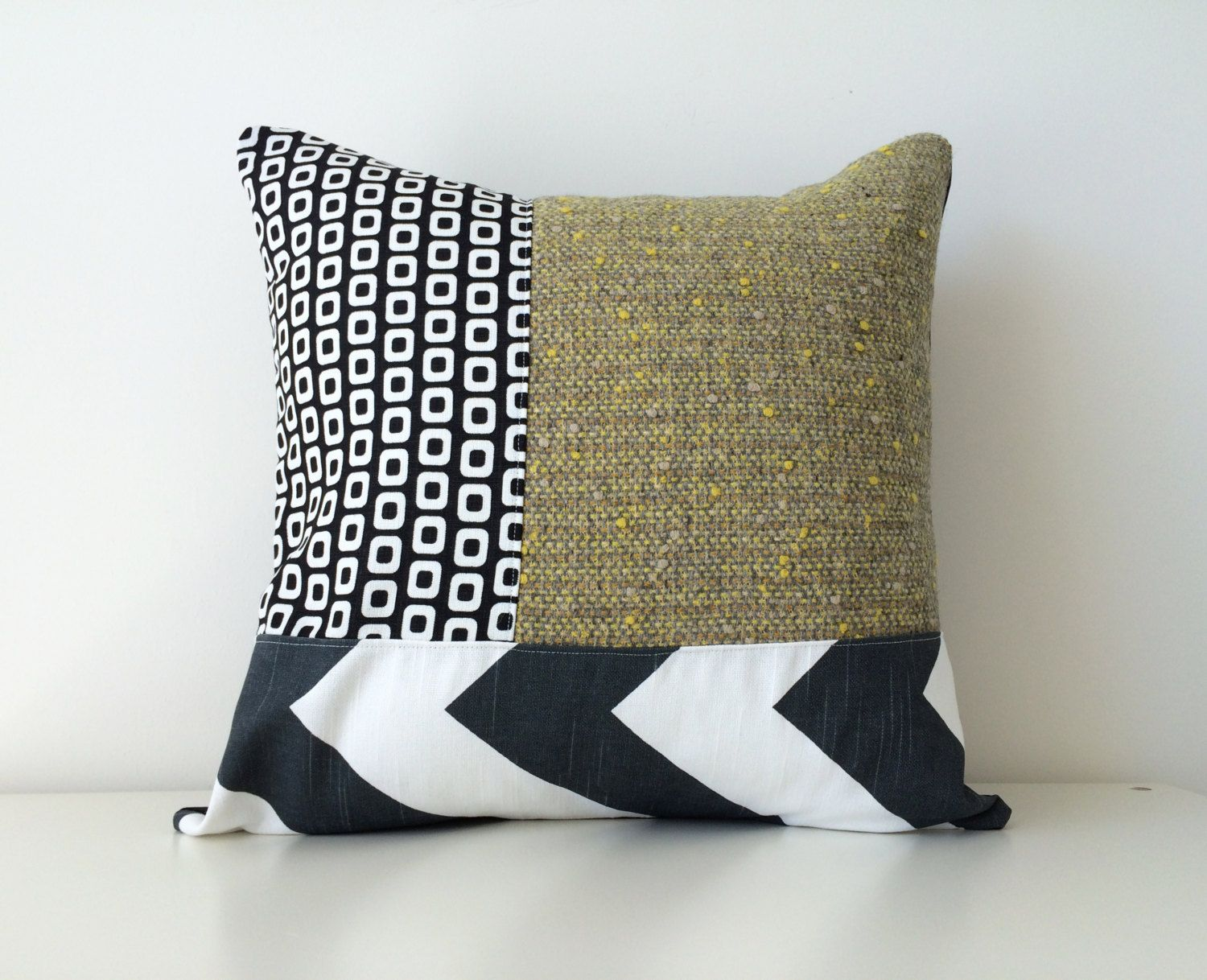 mod geometric pattern block pillow cover modern patchwork x  - mod geometric pattern block pillow cover modern patchwork x inchesneutral throw pillow mixed fabrics pillow black white yellow