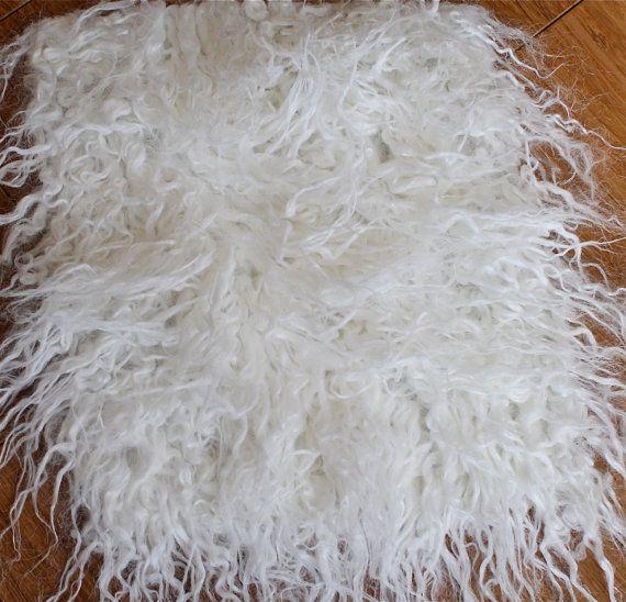 SuPeR SiZe Albino Off White Sheep Faux Flokati Fur Blanket Newborn Amazing Flokati Throw Blanket