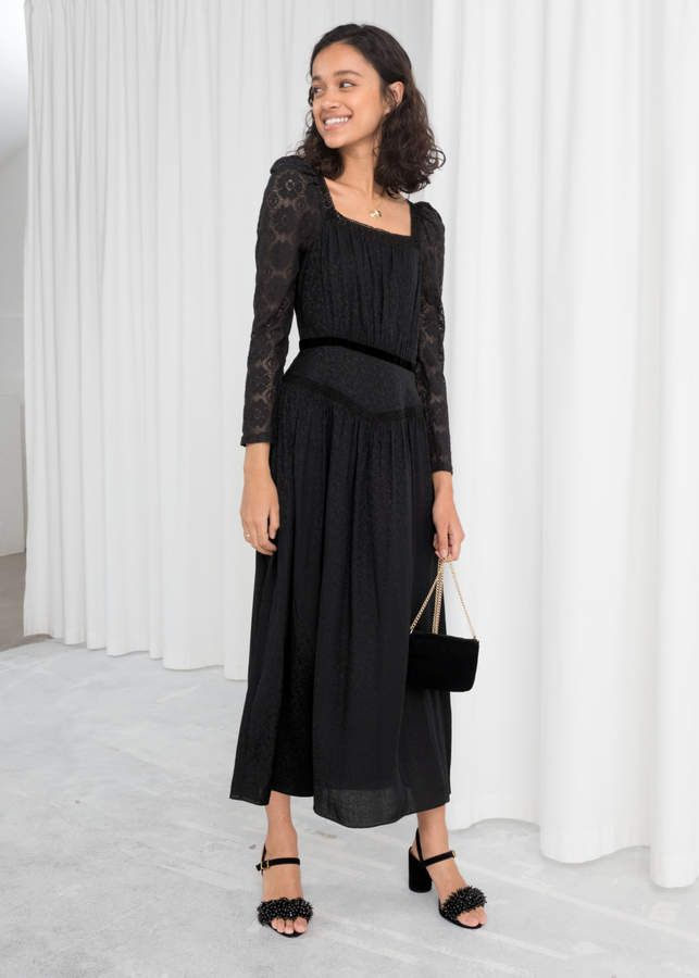 Lace Trim Midi Dress In 2019 Dresses Fashion Black Midi