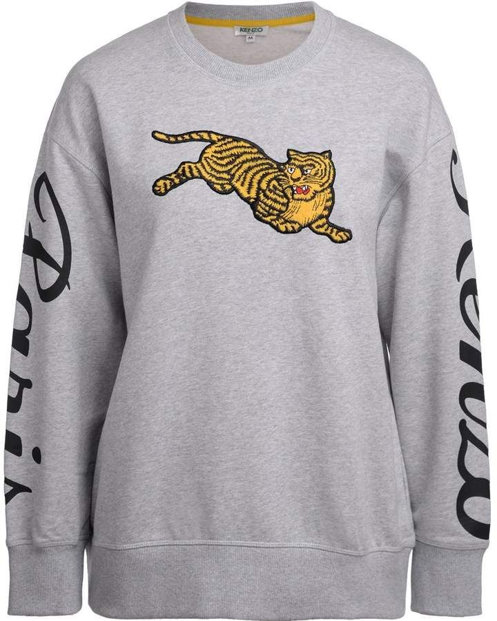 f1246b2a Kenzo Jumping Tiger Grey Sweatshirt With Maxi Patch | Products ...