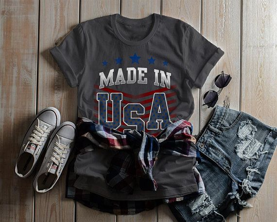 Women's Made In USA T Shirt Patriotic 4th July Shirt America