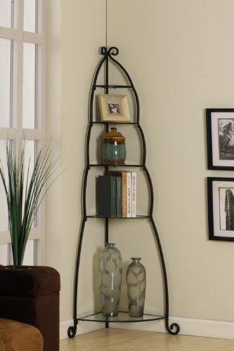Kings Brand Black Metal With Glass Shelves 5 Tier Corner Bookcase 55 99 Save 244 00 Herreria Banos