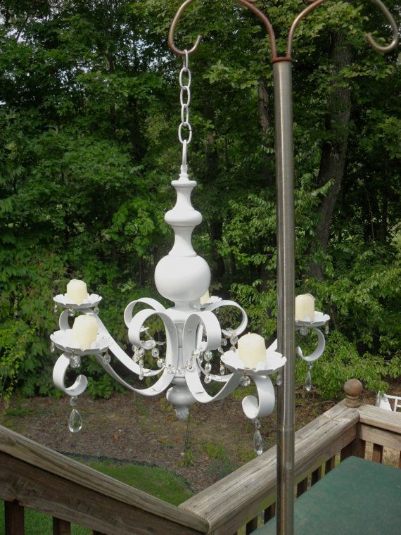 75 Vintage Chandelier Repurposed Into A Candle Chandelier White With Clear Crystals With Images Outdoor Candle Chandelier Candle Chandelier Vintage Chandelier