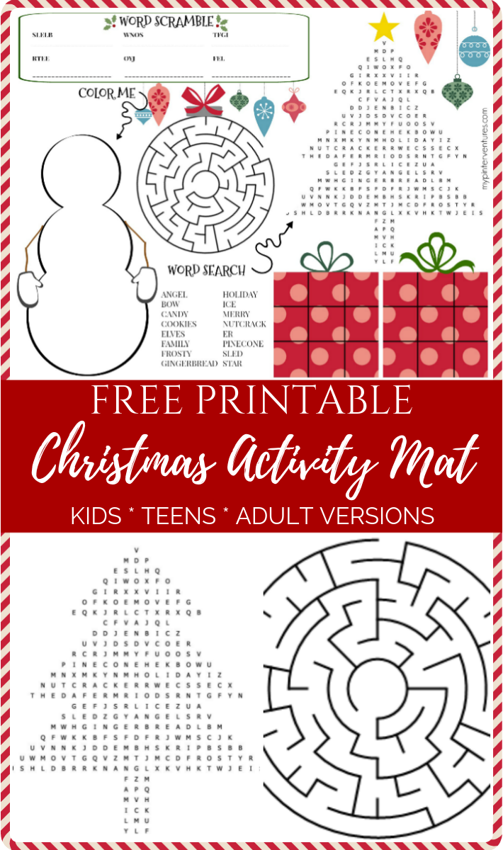 Christmas Activity Mat Kids, Teens, & Adults Christmas