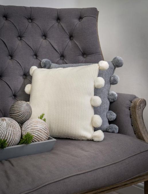 Photo of Pom Pom Cushion – Ivory