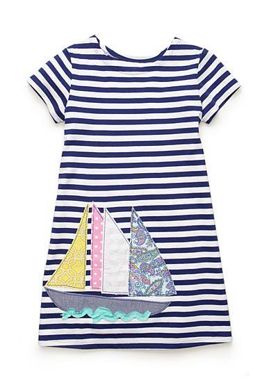 J. Khaki® Sailboat Stripe Dress Toddler Girls