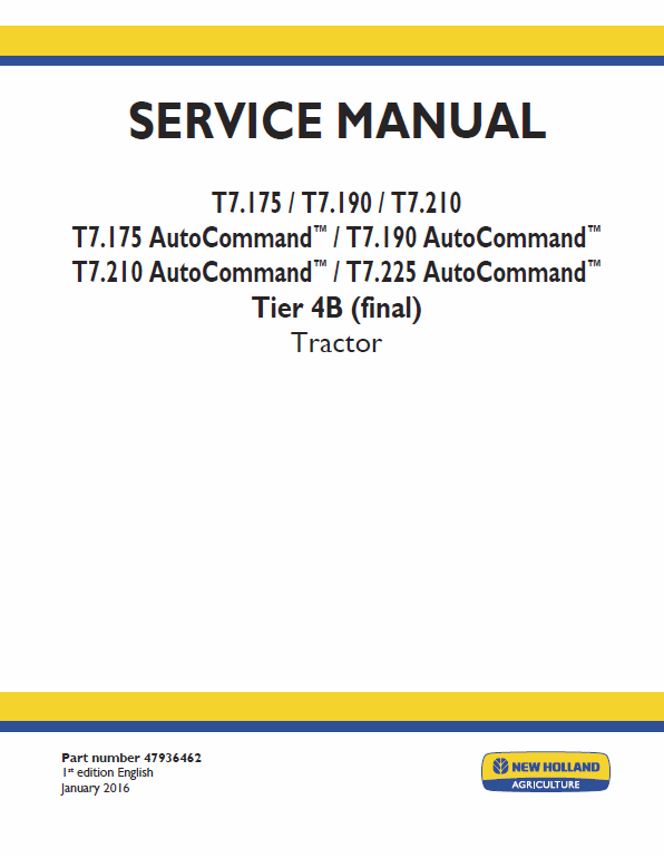 New Holland T7 175 T7 190 T7 210 T7 225 Tractor Service Manual New Holland Hydraulic Systems Holland