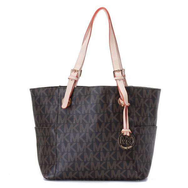 Michael Kors Jet Set MK Logo-print Signature Brown Tote Products  Description * Brown MK