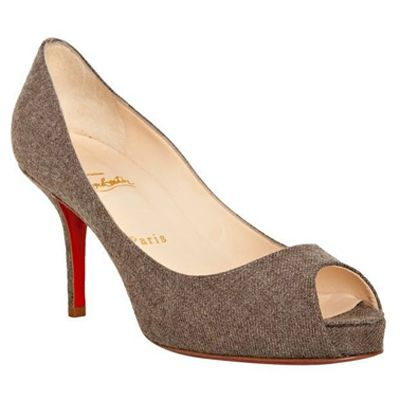 Christian Louboutin Malls Mater Claude 85 Flannel Peep Toe Pumps Taupe