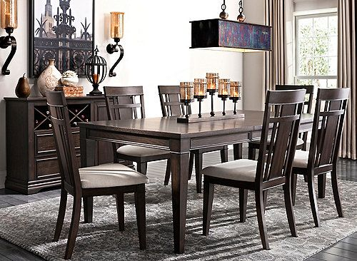 Set An Impressive Dining Scene With The Sheffield 7 Piece Dining Set Bold Sleek Lines An Unique Dining Room Dining Sets Modern Dining Room Chairs Upholstered