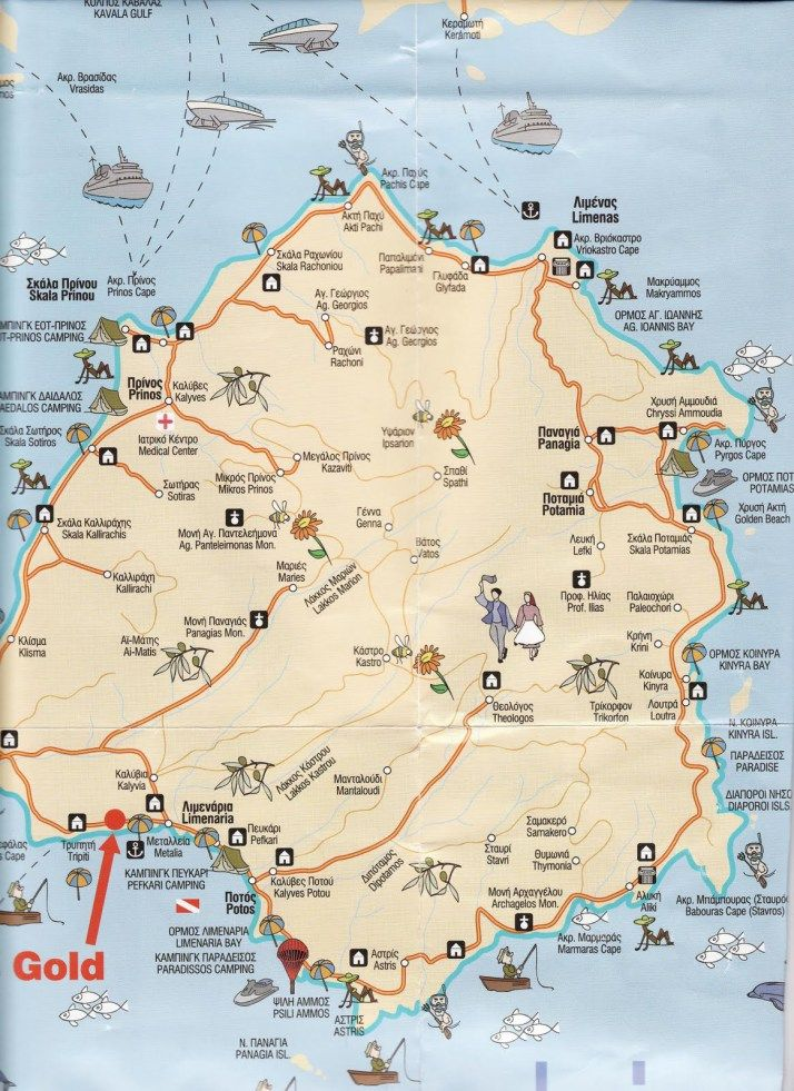 Insula Thassos Verde Desăvarșit Thasos Greece Thasos Greece Map