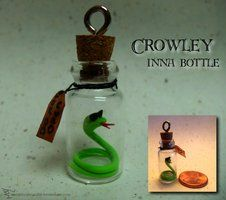 Crowley inna bottle by Hedgehogscanfly