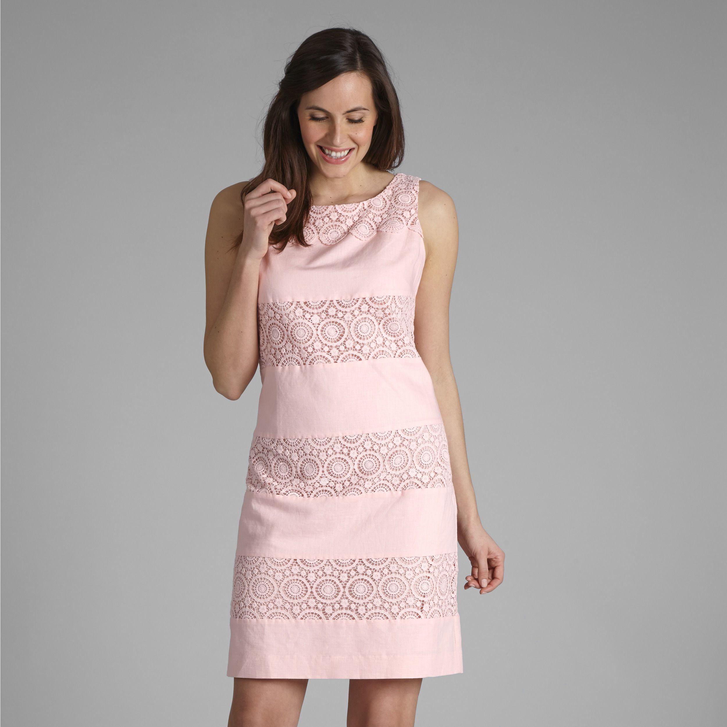 Broderie Stripe Linen Shift Dress at Laura Ashley | Elegant clothes ...