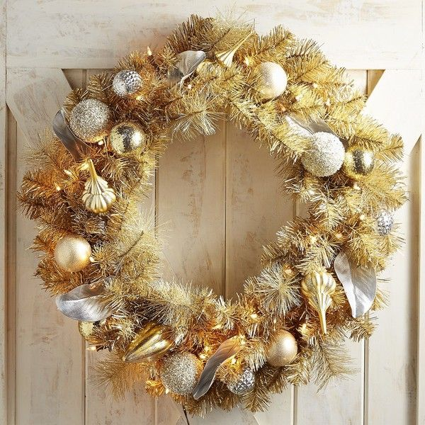 Pier 1 Imports Pre-Lit Gold Wreath featuring polyvore, home, home
