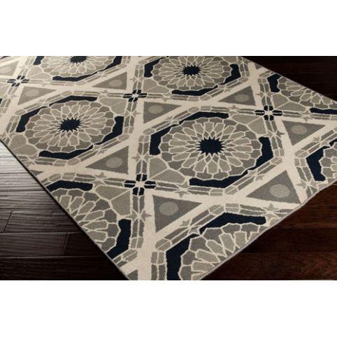 Islamic Stars Rug - Parchment + Charcoal Gray + Federal Blue + Bay Leaf