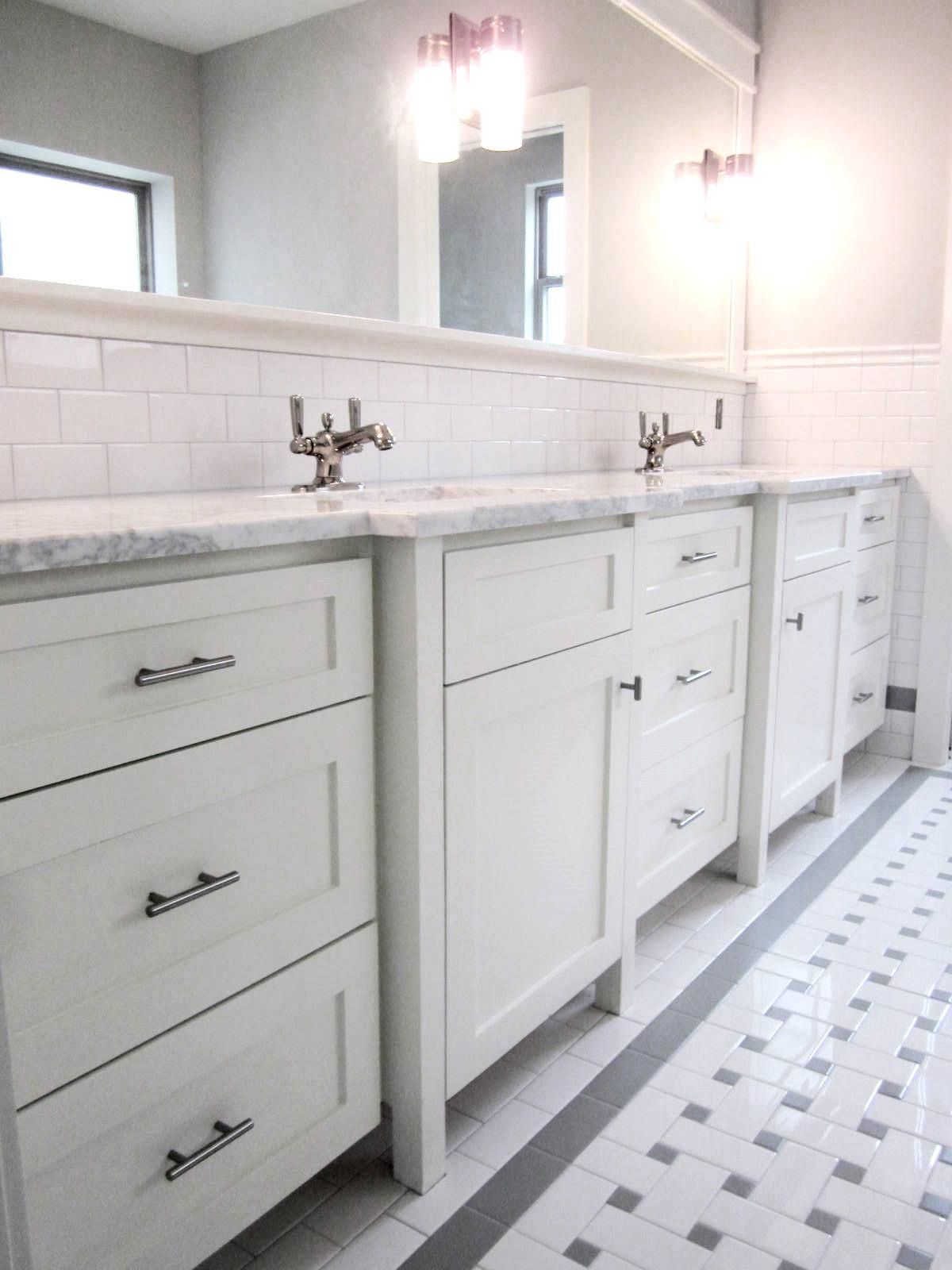 Job built / job finished Shaker style vanity cabinets in master bath ...