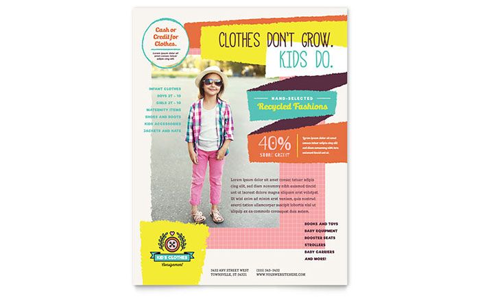 Kids Consignment Shop Flyer Template Design by StockLayouts - flyer format word