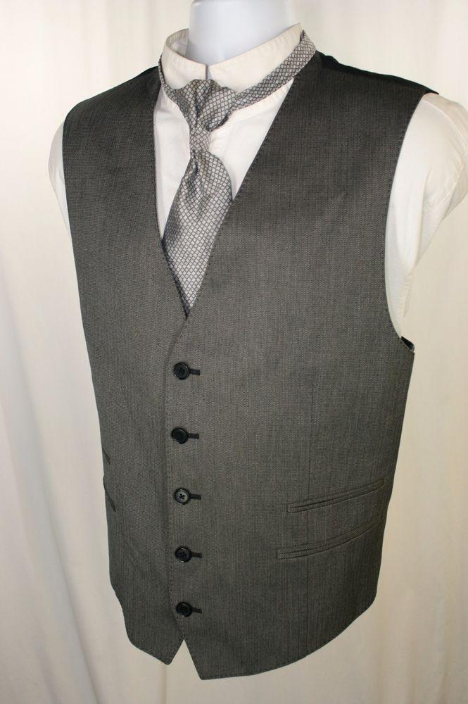 John Varvatos Hearse Coachmens Gray Black 4 Pocket Vest Mens 48 #Steampunk 2247 #JohnVarvatos