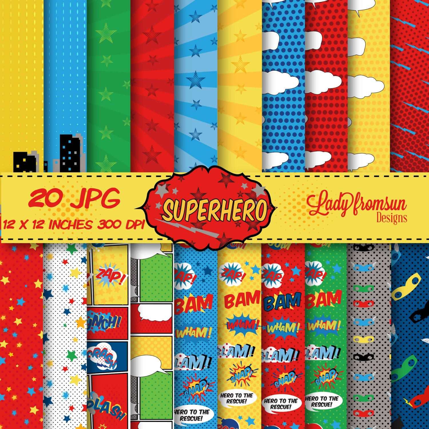 Scrapbook paper books - Superhero Digital Paper Pack Comic Book Pages Action Words Comic Sound Effects Scrapbook Paper And Backgrounds Commercial Personal Use