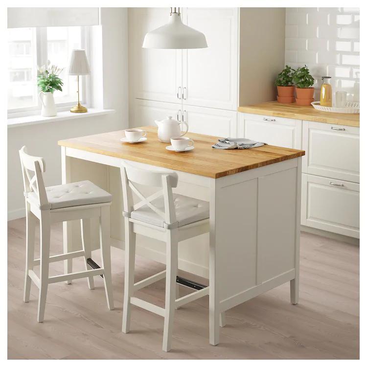 Tornviken Ilot Pour Cuisine Blanc Casse Chene 126x77 Cm